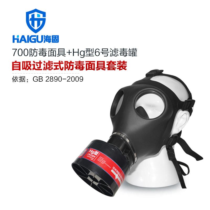 海固700全面罩+HG-ABS/P-Hg-2滤毒罐  水银防护专用防毒面具