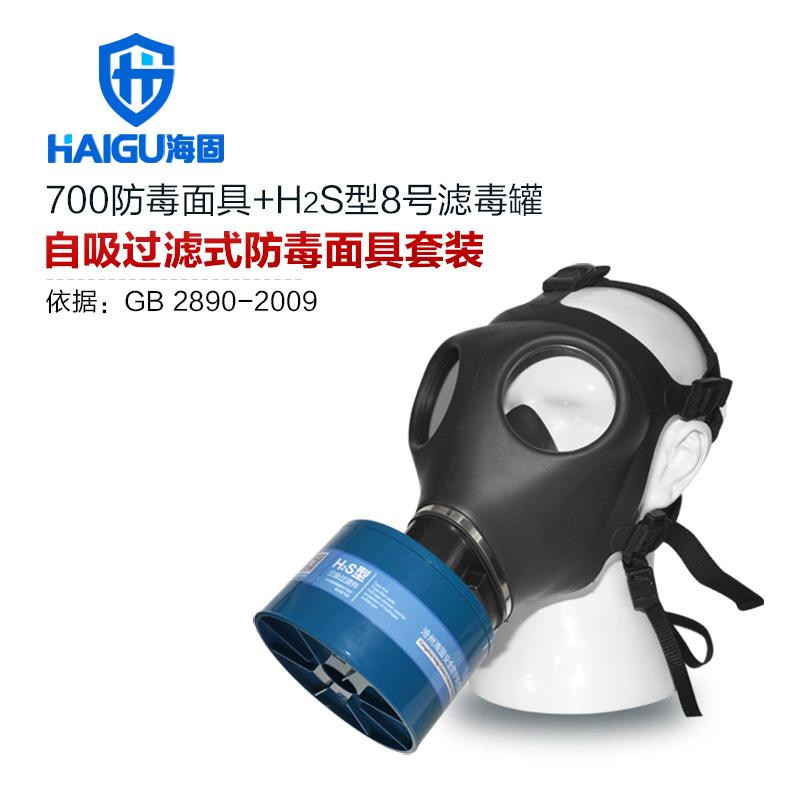 海固700全面罩+HG-ABS/P-H2S-3滤毒罐 硫化氢活性炭防毒面具
