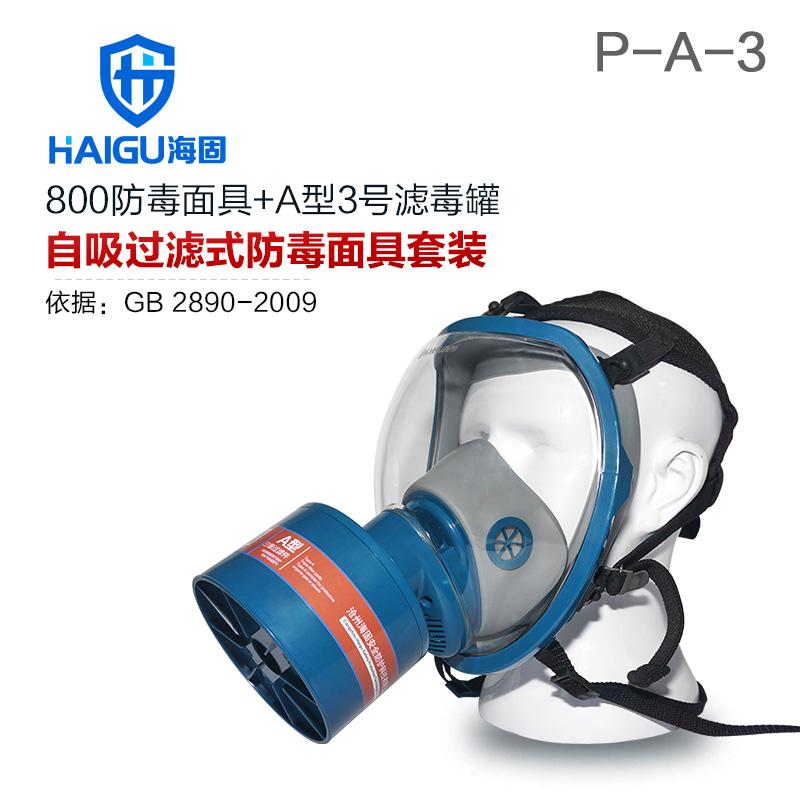 海固800全面罩+HG-ABS/P-A-3滤毒罐 活性炭防毒面具 甲醛 醇类