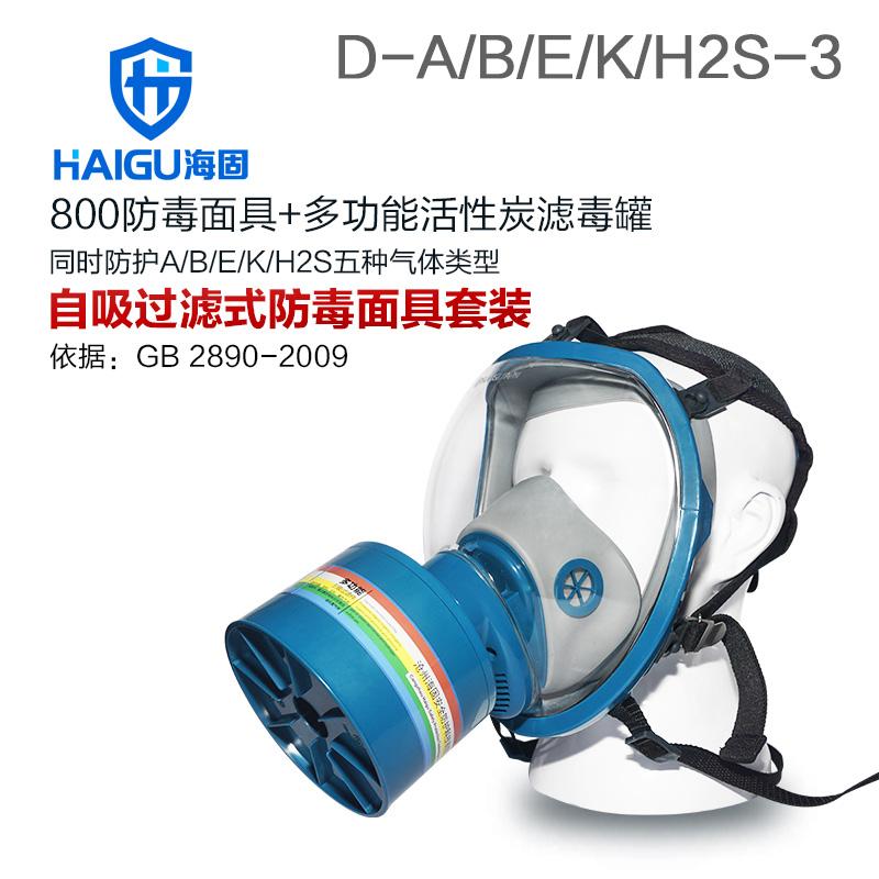 海固800全面罩+HG-ABS/D1-3滤毒罐 综合防毒气 活性炭防毒面具