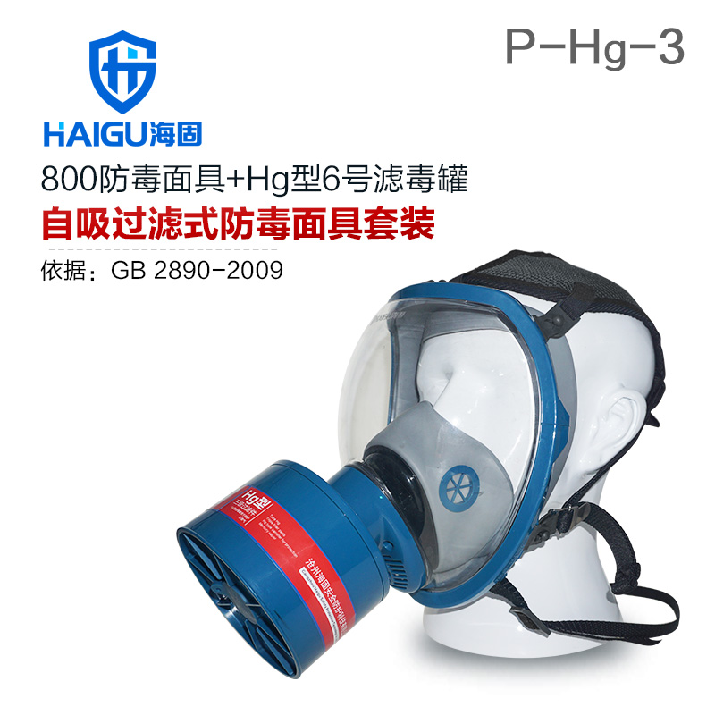海固800全面罩+HG-ABS/P-Hg-3滤毒罐 水银防护专用防毒面具