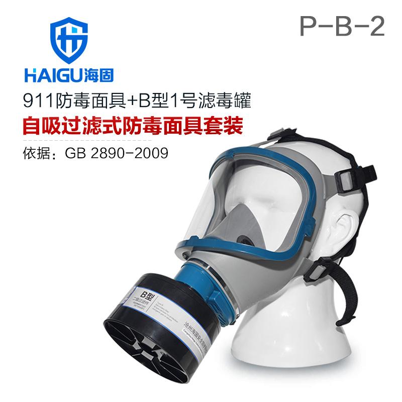 海固911全面罩+HG-ABS/P-B-2滤毒罐 防毒面具 无机气体综合防护