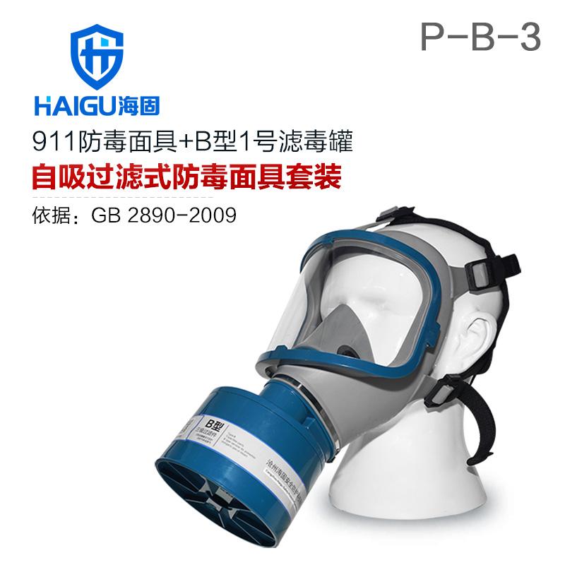 海固911全面罩+HG-ABS/P-B-3滤毒罐 防毒面具 无机气体综合防护