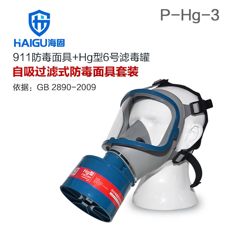 海固911全面罩+HG-ABS/P-Hg-3滤毒罐  水银防护专用防毒面具
